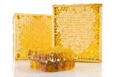Nid d'abeilles dans la trame en bois gorizontal Photos stock