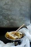Nid d'abeilles dans une cuvette de vintage Photos libres de droits