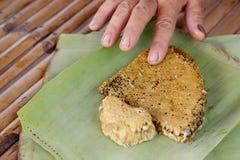 Nid d'abeilles sur une feuille de banane photo stock