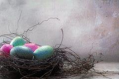 Nid de Pâques avec les oeufs colorés en turquoise de rose en pastel et de bleu Image libre de droits
