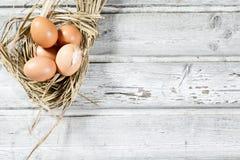Nid de Pâques, oeufs en paille Images libres de droits