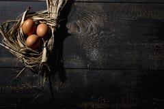 Nid de Pâques, oeufs en paille Photo stock