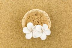 Nid en céramique avec des fleurs sur le panneau de liège Photo stock