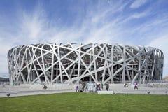 Nid le Stade Olympique au jour, Pékin, Chine du ` s d'oiseau Image libre de droits