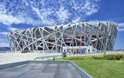 Nid le Stade Olympique un jour d'été, Pékin du ` s d'oiseau Photos stock