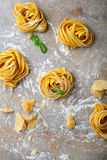 Nid, parmesan et basilic italiens de pâtes d'oeufs Photographie stock libre de droits