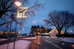 Nida City in Lithuania, in the period of Christmas. Decorated with bright garlands stock images