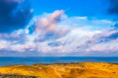 Nida - Curonian-Spit en Curonian-Lagune, Nida, Klaipeda, Litouwen Baltische duinen Unesco-erfenis Nida wordt gevestigd Stock Foto