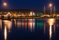 Nida fjärd på natten, en semesterortstad i Litauen Fotografering för Bildbyråer