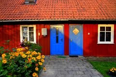 Nida resrt, Lithuania Tradycyjny rybaka ` s dom obraz stock