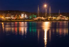 Nidabaai bij nacht, een toevluchtstad in Litouwen Royalty-vrije Stock Afbeeldingen