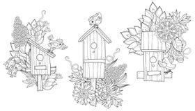 Nidal dibujada mano de la primavera del esquema del garabato Imagen de archivo