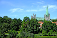 Nidaros Cathedral in the City of Trondheim, Norway Stock Photo