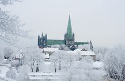Nidaros Cathedral. The Nidarosdomen on a Cold Winter day. Trondheim, Norway Stock Images