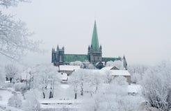 Nidaros Cathedral. The Nidarosdomen on a Cold Winter day. Trondheim, Norway stock images
