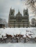 Nidarosdomen domkyrka i Trondheim Härlig vintertid fotografering för bildbyråer