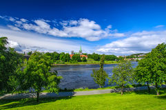 Nidarosdomen - Nidaros Cathedral landscape in Trondheim, Norway Royalty Free Stock Image
