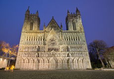 Nidarosi cathedral in the center of Trondheim Royalty Free Stock Image