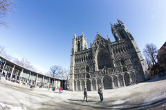 Nidaroskathedraal in Trondheim royalty-vrije stock foto