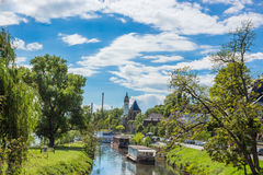 Nidda Riverbank Summer with blue sky in Frankfurt Hoechst Royalty Free Stock Photos