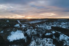 Nidderdale sunset. A Freezing winter Sunset over High Crag in Nidderdale, North Yorkshire,England. December 2017 Stock Image