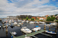 The Nidelva river outlet in Trondheim. Stock Images