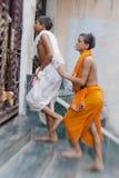 Nidentified hindu people on the sacred old town of Varanasi Royalty Free Stock Images