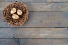 Nido con le uova dorate Fotografie Stock Libere da Diritti