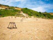 Nido de la tortuga de mar de la playa de Gerakas Fotos de archivo