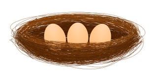 Nido dell'uccello con il vettore dell'uovo Immagini Stock