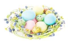 Nido di vimini con le uova di Pasqua Immagine Stock
