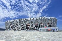 Nido lo Stadio Olimpico un giorno di estate, Pechino del ` s dell'uccello Fotografia Stock Libera da Diritti