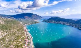 Nidri bay and harbour for yachts in Lefkada, Greece Royalty Free Stock Photos