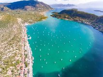 Nidri bay Lefkada Greece. Greek Island Lefkada in the Mediterranean Sea is a well known tourist destination for the summer and is also known by the name of Royalty Free Stock Photography