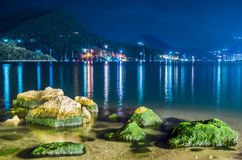Nidri bay by night. Nidri bay sea by night Royalty Free Stock Image
