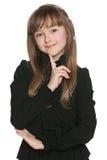 Nieśmiała dziewczyna w czerni obraz stock