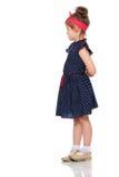 Nieśmiała mała dziewczynka w błękitnej sukni Fotografia Royalty Free