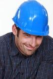 Nieśmiały męski budowniczy Obraz Royalty Free