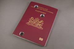 Nie do użytku dziurkowaty uszkadzający Holenderski paszport - Nederlands Paspoort Zdjęcie Stock