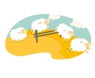 nie licząc owce Kreskówka szczęśliwi cakle dla dziecka Postać z kreskówki cakle na łące słodki sen ilustracja wektor