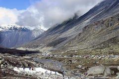 ?nie?na dolina przy Zero punktami P??nocny Sikkim w India zdjęcie stock