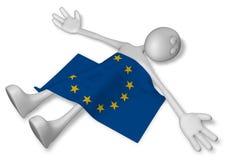 Nieżywy kreskówka facet i flaga eu Obraz Stock