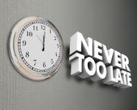 Nie zu späte Wörter der Uhr-Zeit-Wand-3d Lizenzfreie Stockfotografie
