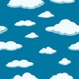 Nieba bezszwowy tło Obłoczny bezszwowy tło dzień dobry jasny niebieskie chmury ilustracja wektor