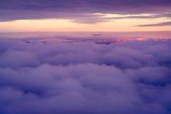 Nieba i chmur widok od above Zdjęcia Stock