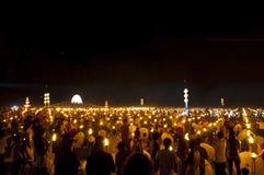 Nieba lampionów fajerwerku festiwal Obrazy Royalty Free