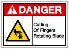 Niebezpieczeństwa Ciąć palce Wiruje ostrze symbolu znaka, Wektorowa ilustracja, Odizolowywa Na Białej tło etykietce EPS10 ilustracji