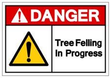 Niebezpieczeństwa drzewo Powalać W Toku symbolu znaka, Wektorowa ilustracja, Odizolowywa Na Białej tło etykietce EPS10 ilustracji