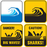 Niebezpieczeństwa duży fala znak. Tsunami Obrazy Royalty Free