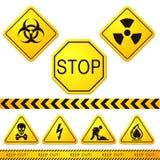 Niebezpieczeństwa i ostrożności znaki uliczni 01 ilustracja wektor